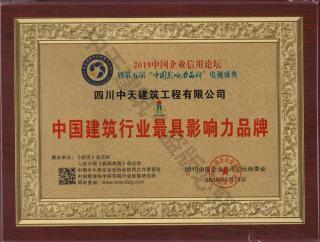 2019中国建筑行业最具影响力品牌